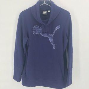 Purple Puma Pullover Sweater w/ Collar Woman's L